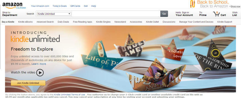 Amazon's Kindle Unlimited page has since been removed from its website.