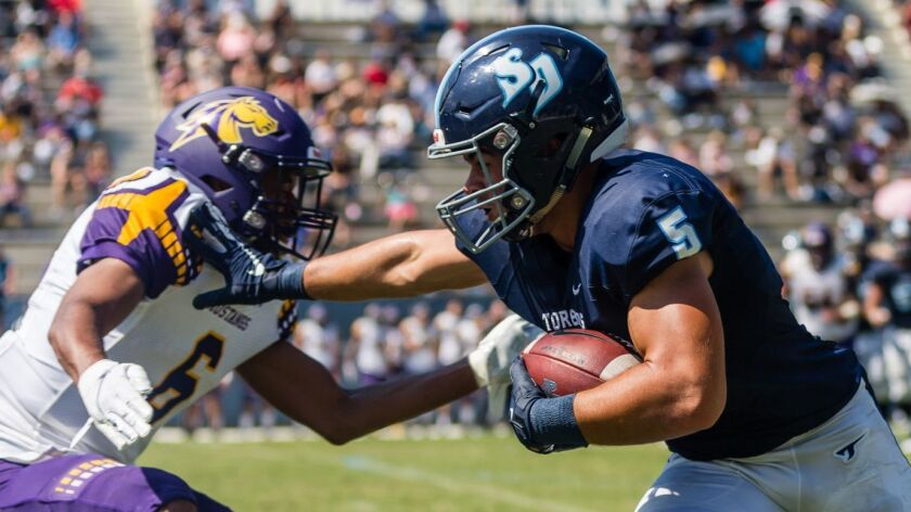 USD's Michael Bandy had eight catches for 111 yards and two TDs last week against Western New Mexico.