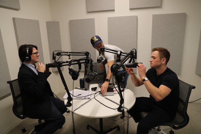 "Mark Olsen and Taron Egerton in studio for ""The Reel"""