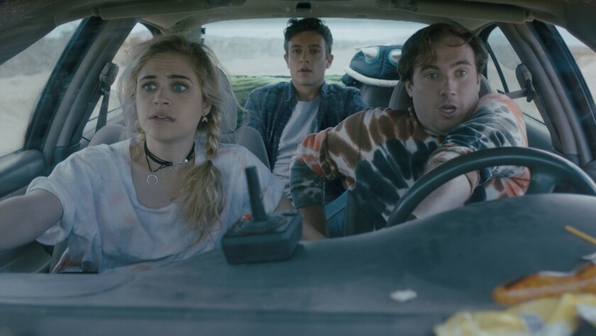 "(L-R) Bevin Bru as Camille, Isaac Jay as Evan, and Hunter Peterson as Nico in thriller ""HEAD COUNT."