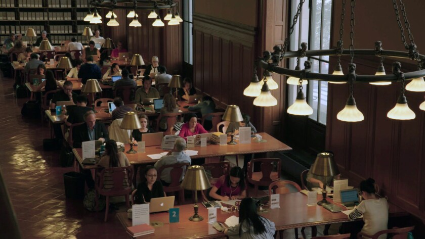 """Milstein Reading Room at the New York Public Library from Frederick Wiseman's film, """"EX LIBRIS - Th"""