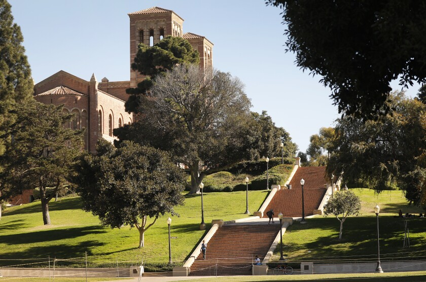 Three broad sets of stairs lead to Royce Hall at UCLA.
