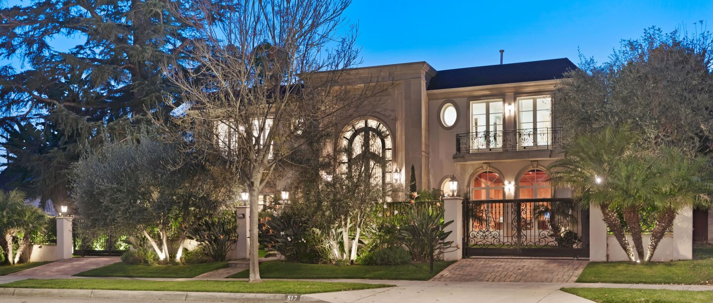 The European-inspired mansion on North Rexford Drive sold for $11.5 million, or about $1 million shy of the asking price. The six-bedroom, nine-bathroom house features a two-story foyer, a movie theater and an elevator. The master suite has a balcony overlooking the backyard.
