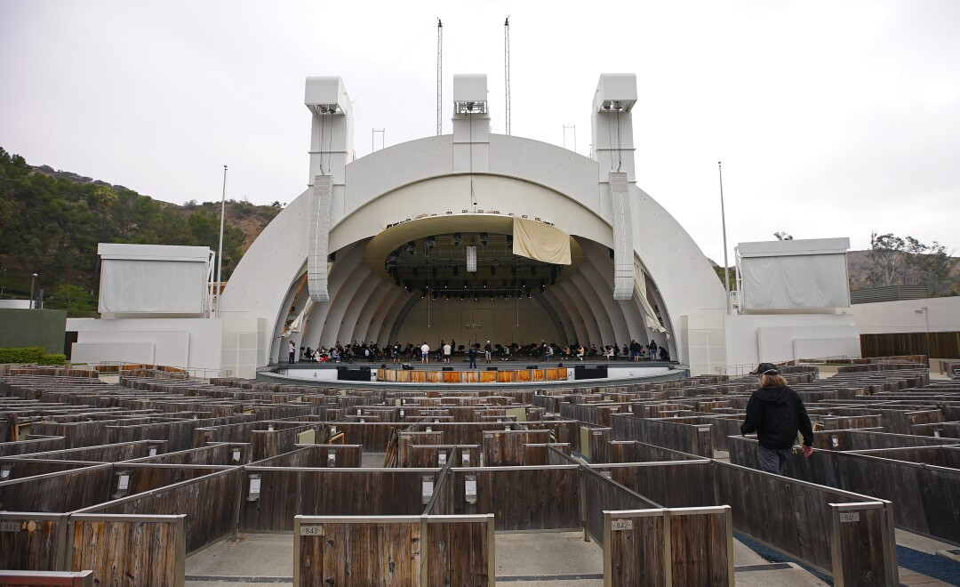 A wide view of the Hollywood Bowl