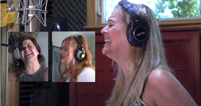 """Singers, from left, Lauren Leigh, Shyla Day and Eve Selis remotely joined in a COVID-related recording of """"We Are The World."""""""