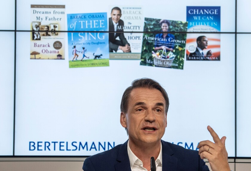 Penguin Random House Chief Executive Markus Dohle attends a press conference in 2019.