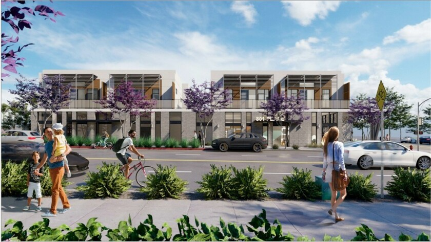 The mixed-use project proposed by La Jolla developer David Bourne for the former 76 gas station at 801 Pearl St. features 26 apartments, two retail spaces and 21 internal parking spaces, pictured in this architect's rendering.