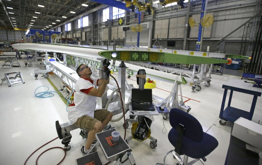 FILE - In this Sept. 3, 2015, file photo, a Boeing employee works on a horizontal stabilizer for a Boeing 787 Dreamliner, at Boeing in Salt Lake City. On Wednesday, Feb. 17, 2016, the Federal Reserve reports on industrial production for January. (AP Photo/Rick Bowmer, File)
