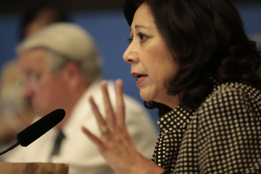 LA County supervisor Hilda Solis speaks during a Los Angeles County Board of Supervisor's meeting on Tuesday, May 12.