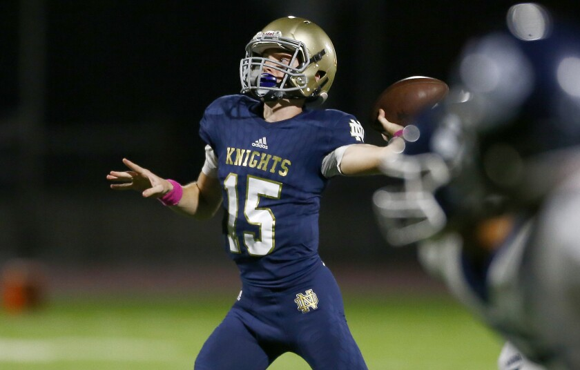 Sherman Oaks Notre Dame quarterback Zachary Siskowic throws a touchdown pass during the first quarter of a 29-23 victory over Loyola on Friday.