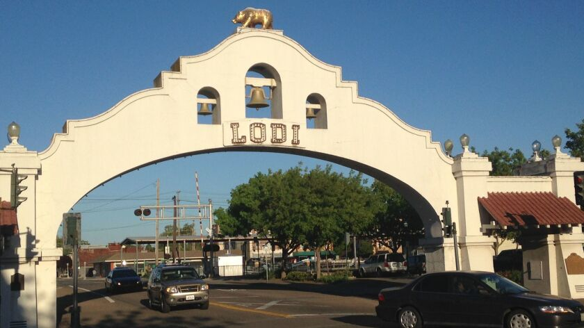 Main Street in Lodi, a small town that's helped put California on the wine map.