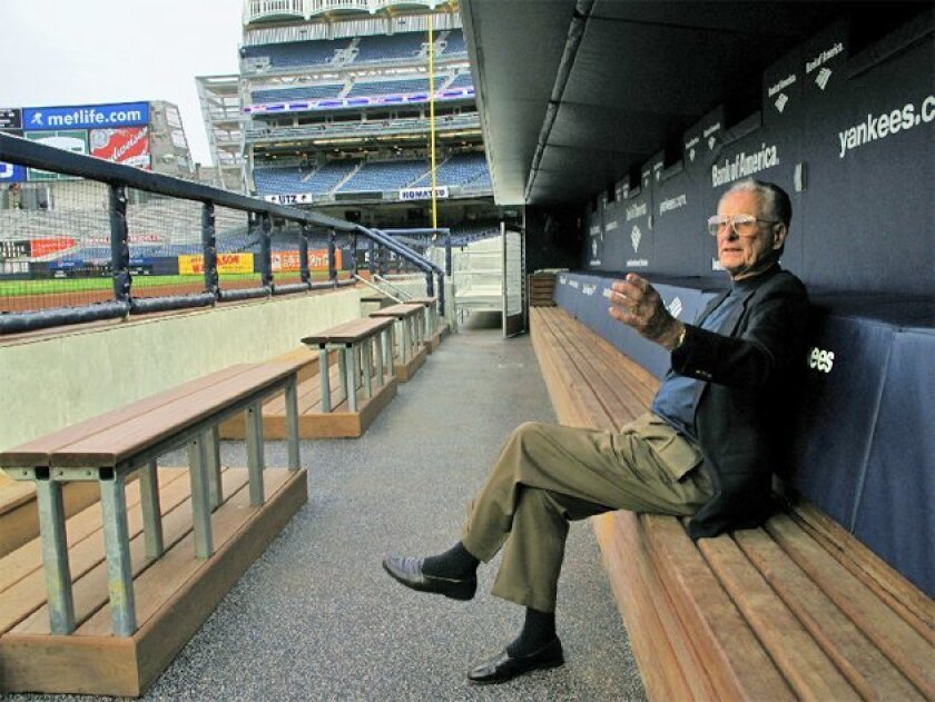 Former New York second baseman Jerry Coleman takes in the view of the new Yankee Stadium. (John M. Mantel)