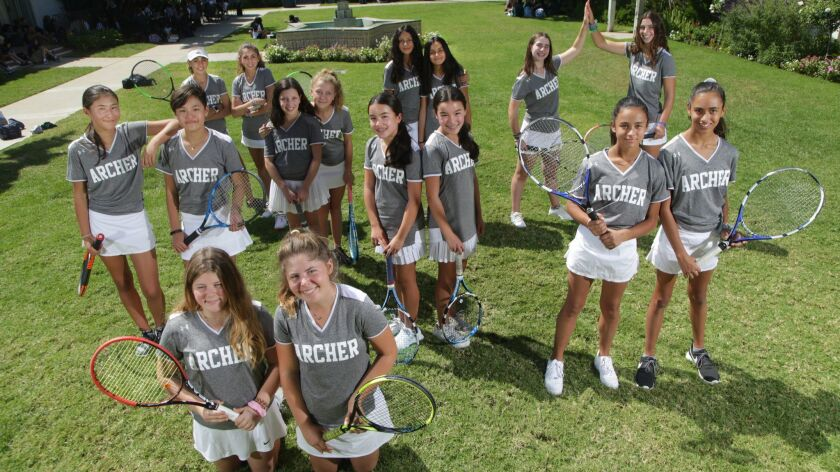 LOS ANGELES, CA., SEPTEMBER 26, 2018 ---Eight sets of sisters who play tennis at the Archer School.