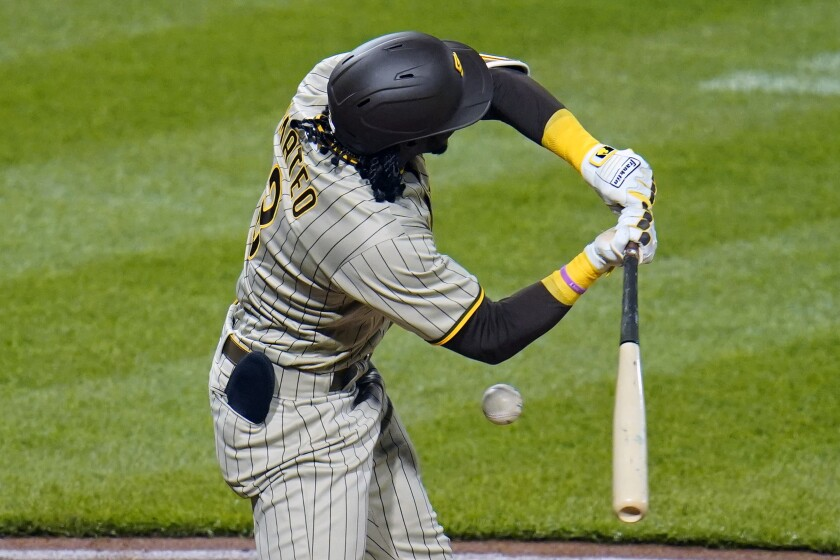 Jorge Mateo is hit by a pitch from Pittsburgh Pirates pitcher Clay Holmes in the fourth inning Tuesday.