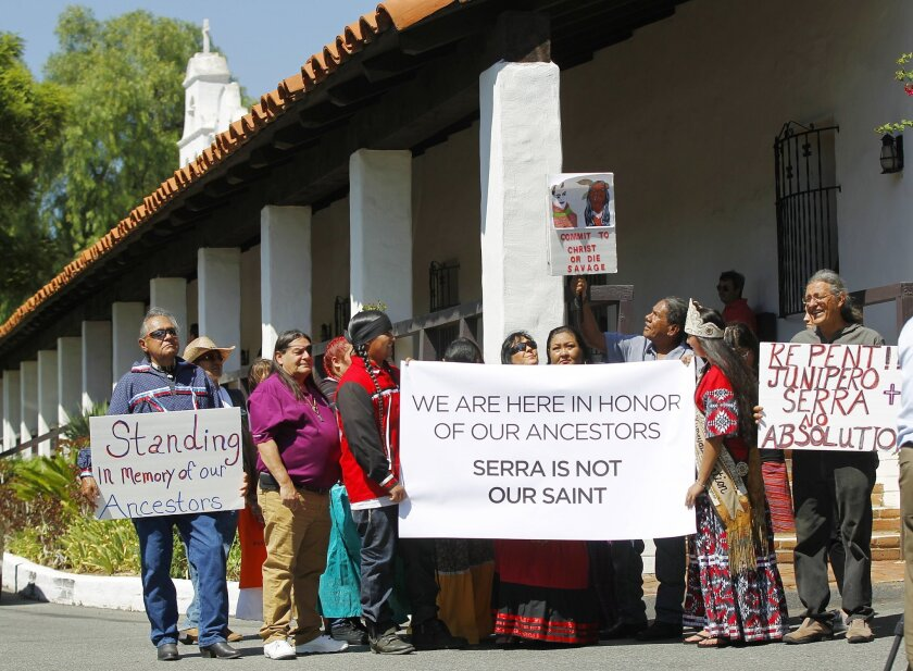 Local Kumeyaay Indians opposed to the canonization of Father Junipero Serra gathered at the Mission Basilica San Diego de Alcala on Wednesday for a prayer.