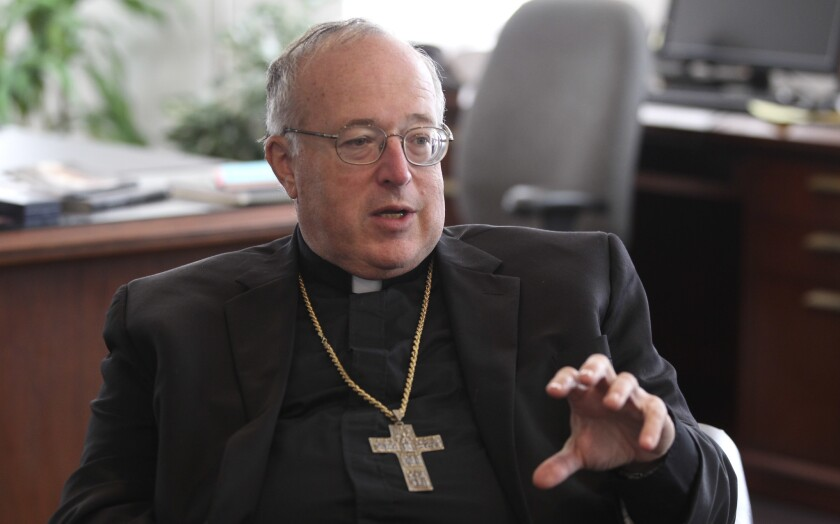 Bishop Robert McElroy talks during an interview with the San Diego Union-Tribune at the Pastoral Center Roman Catholic Diocese of San Diego in October.