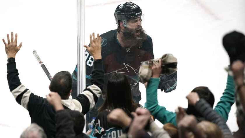 San Jose Sharks defenseman Brent Burns celebrates after scoring a goal against the Anaheim Ducks during the third period.