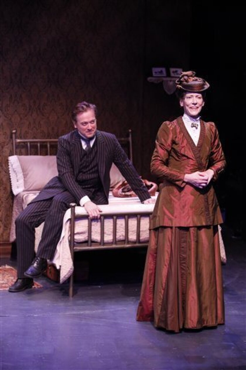 """In this theater publicity photo released by Shirley Herz Associates, Mark Shanahan, left, and Andrea Maulella are shown in a scene from """"Tryst,"""" currently performing off-Broadway at the Irish Repertory Theatre in New York. (AP Photo/Shirley Herz Associates, Carol Rosegg)"""