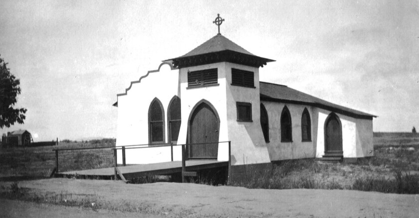 The All Saints Chapel in Hillcrest in the early 1900s before its 1924 relocation to North Park, where it became the nucleus of St. Luke's Episopal Church.