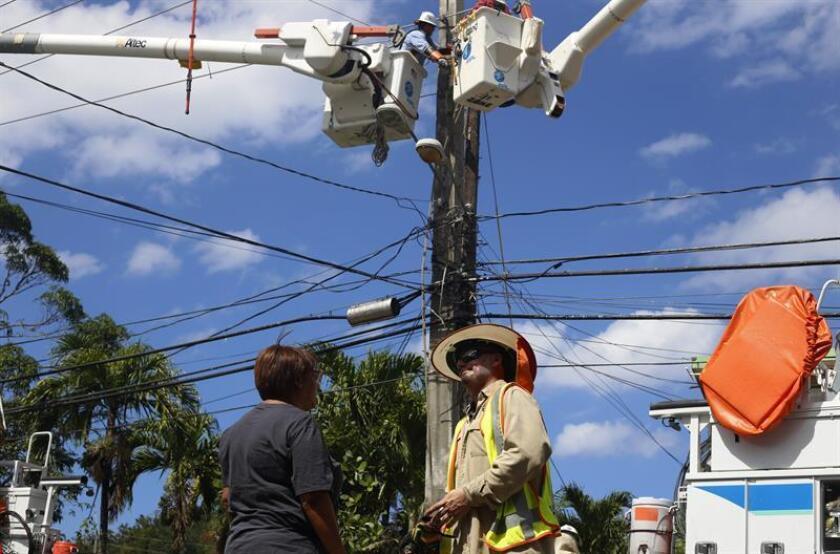 Vista de unas personas trabajando en la electricidad de Puerto Rico. EFE/Archivo