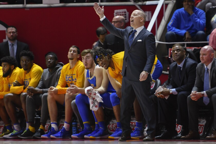 UCLA coach Mick Cronin yells to players from the sideline during a game against Utah on Feb. 2.