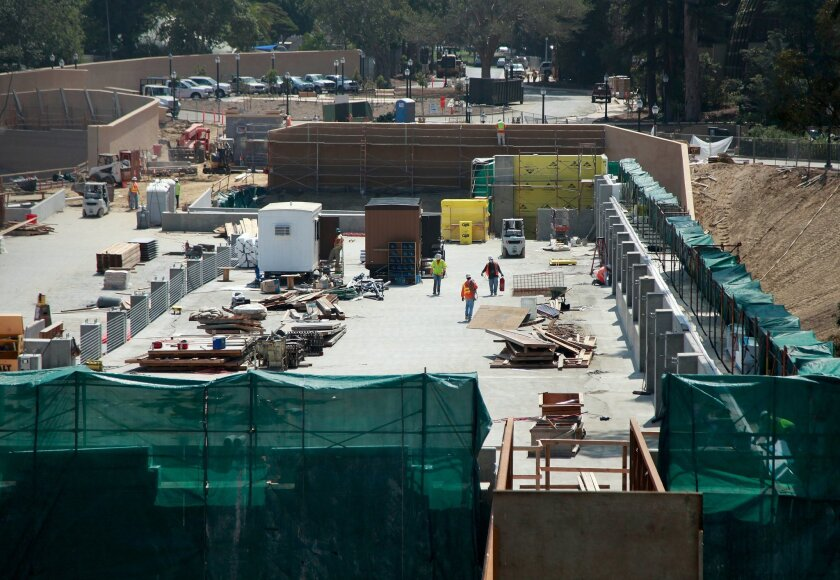 The five-story zoo parking garage will be partially hidden by landscaping along Old Globe Way.