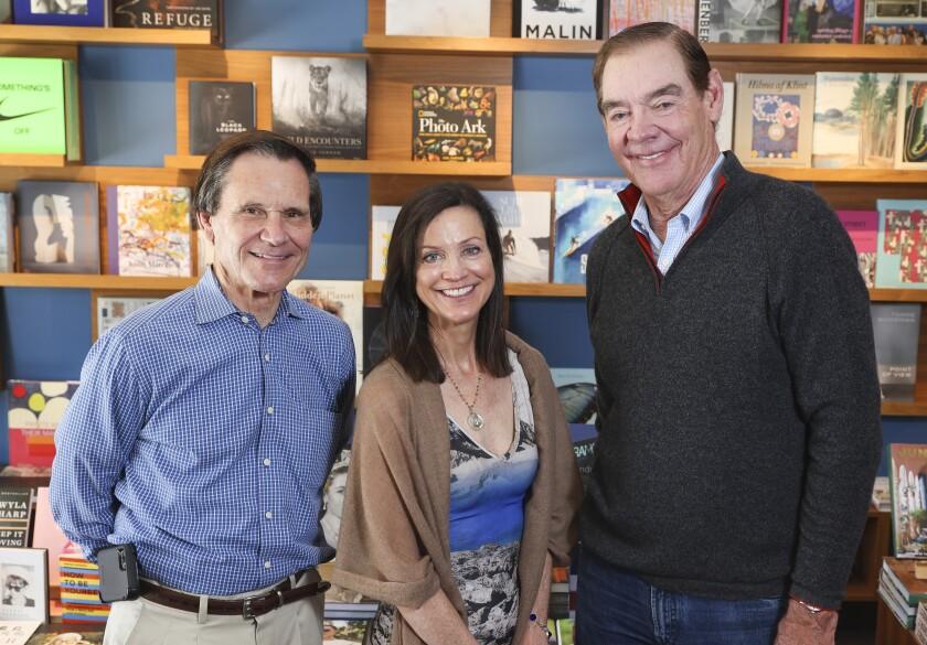 Steve Avoyer, Nancy Warwick, and Jack McGrory at Warwicks bookstore