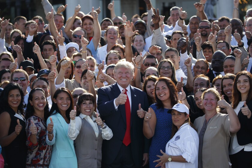 Candidate Donald Trump at a 2016 campaign event at Trump National Doral in Miami