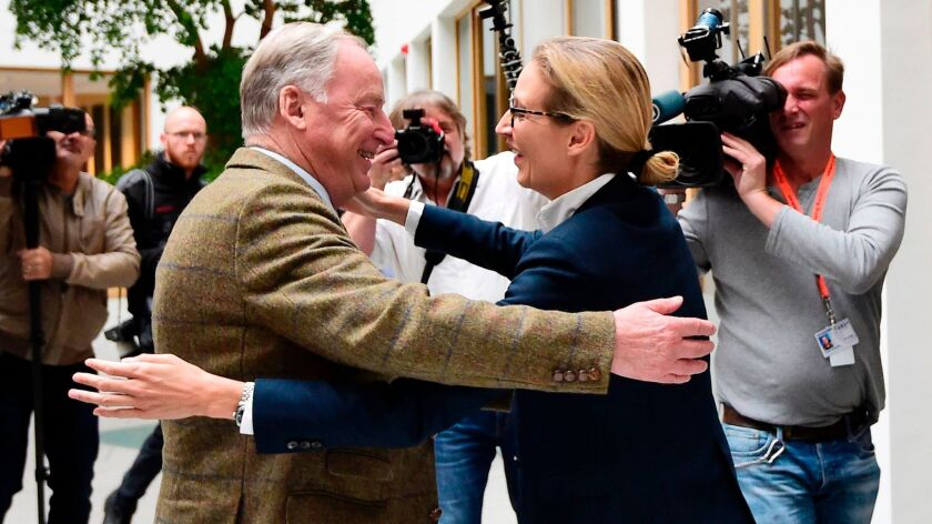 The leading candidates of the far-right Alternative for Germany party, Alexander Gauland and Alice W