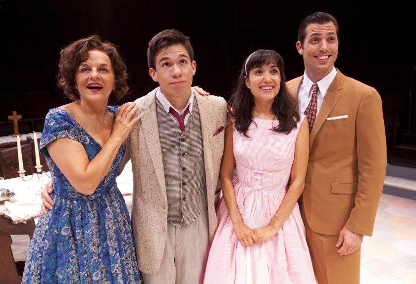 "Priscilla Lopez, Jon Rua, Benita Robledo and Juan Javier Cardenas (left to right) in ""Somewhere"" at the Globe."