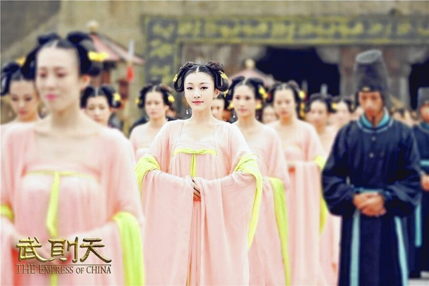 "The period drama series ""The Empress of China,"" featuring Fan Bingbing, center, as Empress Wu, went off the air for several days after Chinese censors said it showed too much decolletage."