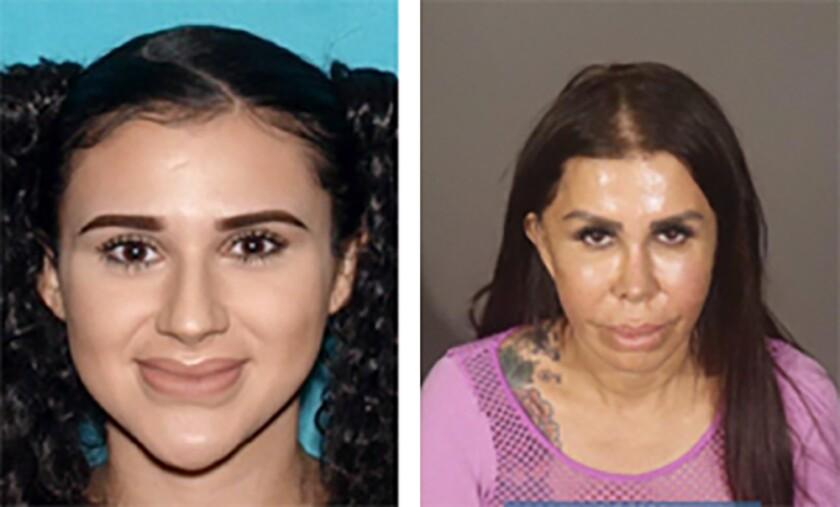 Mug shots of Alicia Gomez, 23, left, and Libby Adame, 51