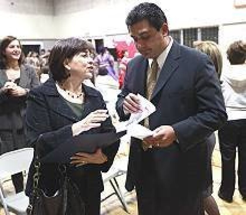Ben Hueso meets with Mary Salas, whom he hopes to replace in the state Assembly. Salas, who is running for state Senate, backs Hueso's candidacy.