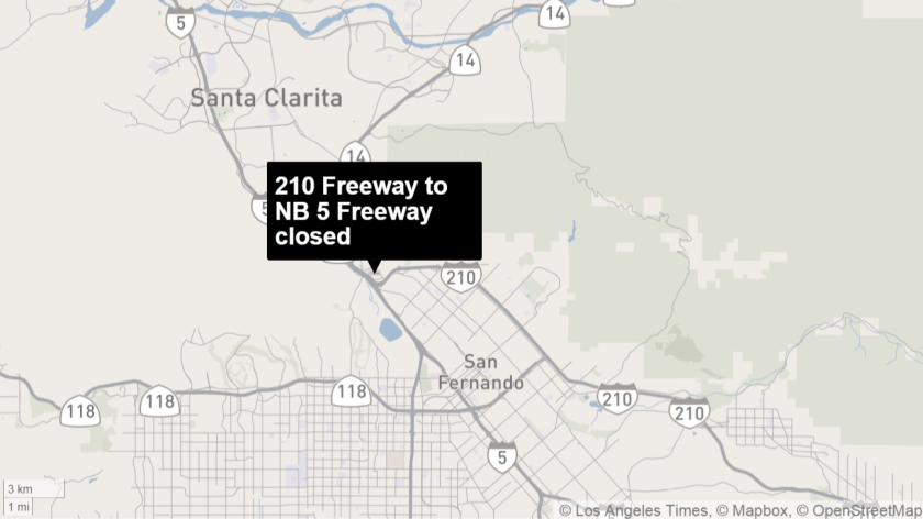 All lanes of the westbound 210 Freeway transition ramp to the northbound 5 Freeway in Sylmar were closed Monday afternoon after a fatal collision involving a big rig and several vehicles.