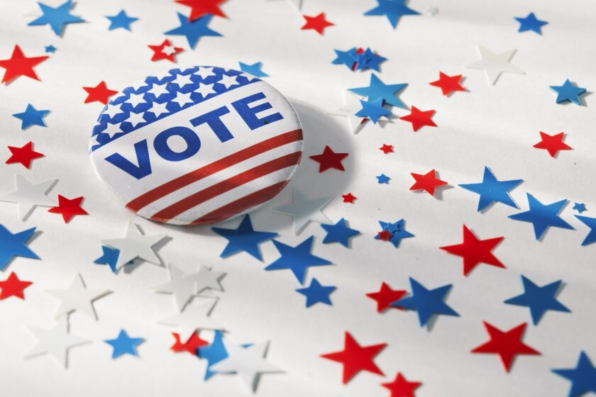 election clip art red, white and blue stars and voter button