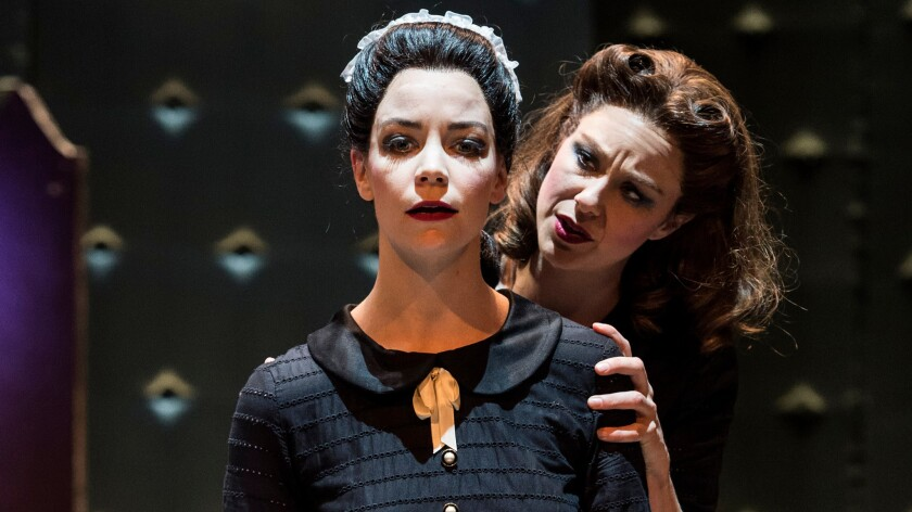 "Solange (Donnla Hughes, left) and Claire (Jaimi Paige) in A Noise Within's ""The Maids."""