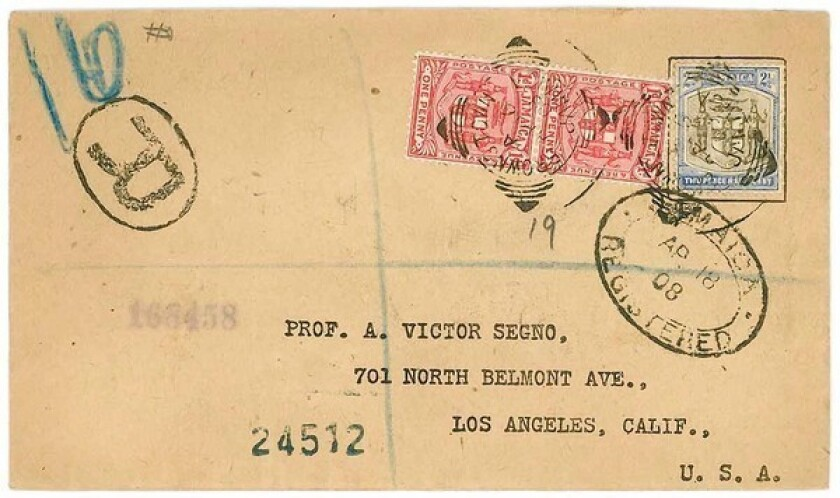 One of the letters sent from around the world to L.A. scam artist A. Victor Segno, either containing money or asking for information about his Segno Success Club. This particular missive came from Jamaica.