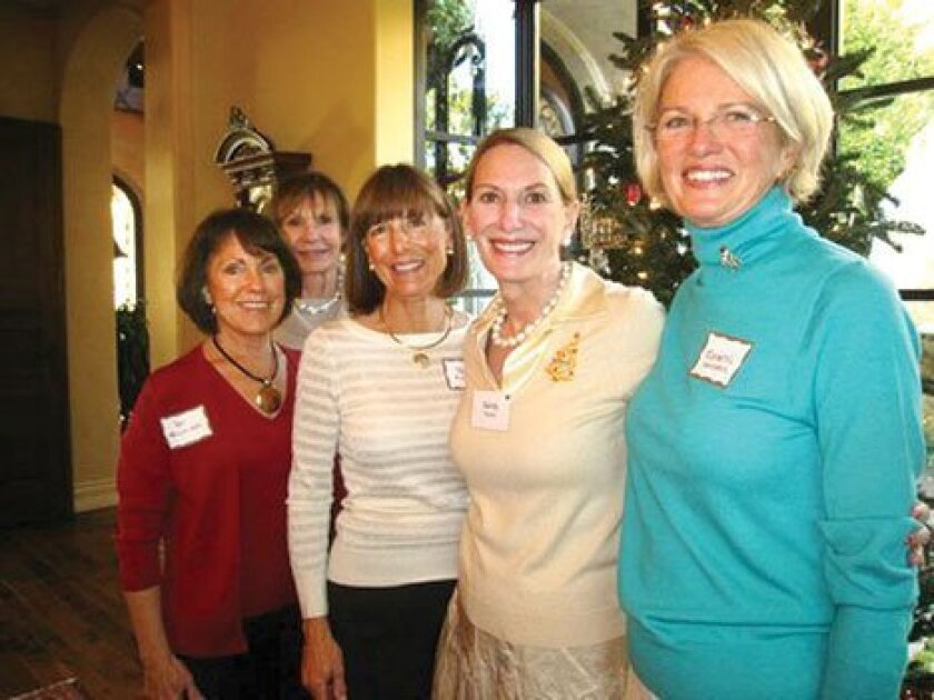 Organizers of the La Jolla Garden Club's 'Holiday Tea by the Sea' include Pat Vellinga, Mary Barduson, Pam Filley, Sandy Pardun and Roberta Saunders. (Courtesy Photo)