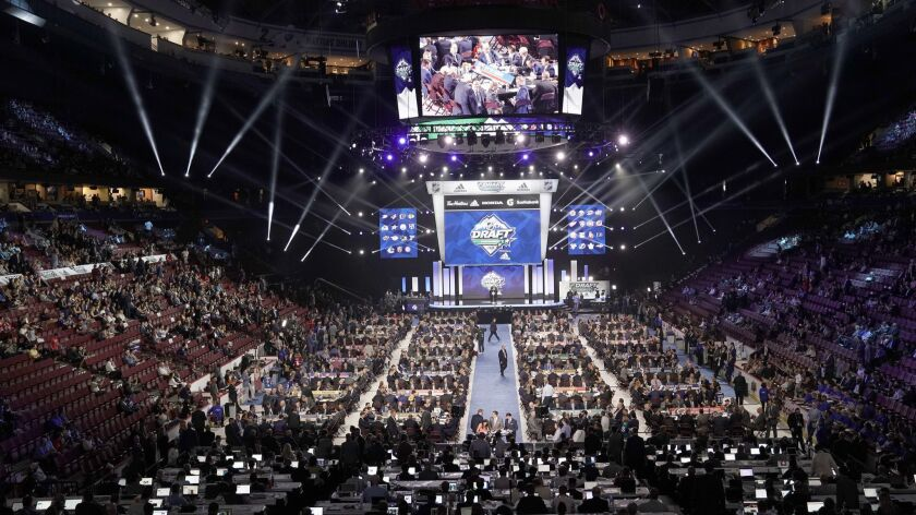 A general view of the draft floor prior to the first round of the 2019 NHL draft at Rogers Arena on June 21 in Vancouver.