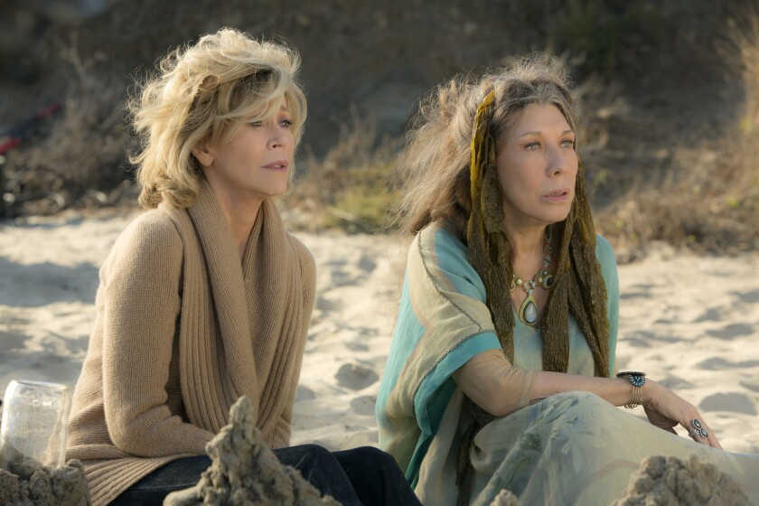 "Jane Fonda, left, and Lily Tomlin in the Netflix Original Series ""Grace and Frankie."""
