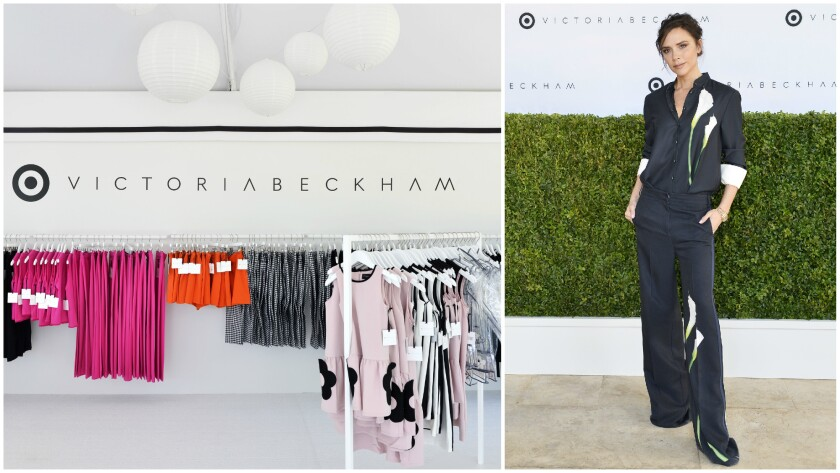Selections from the Victoria Beckham for Target collection; and at right, Victoria Beckham attends t