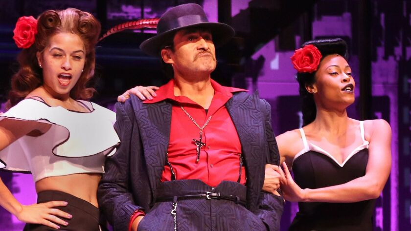 """LOS ANGELES CA. JANUARY 31, 2017: Demian Bichir as El Pachuco during a photo call for """"Zoot Suit,"""""""