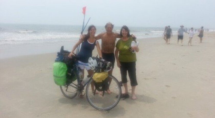 Peter Karch at the end of his cross-country journey with his wife and daughter Laura Karch-Gries, founder of Awakenings Health Institute in Solana Beach. Courtesy photo