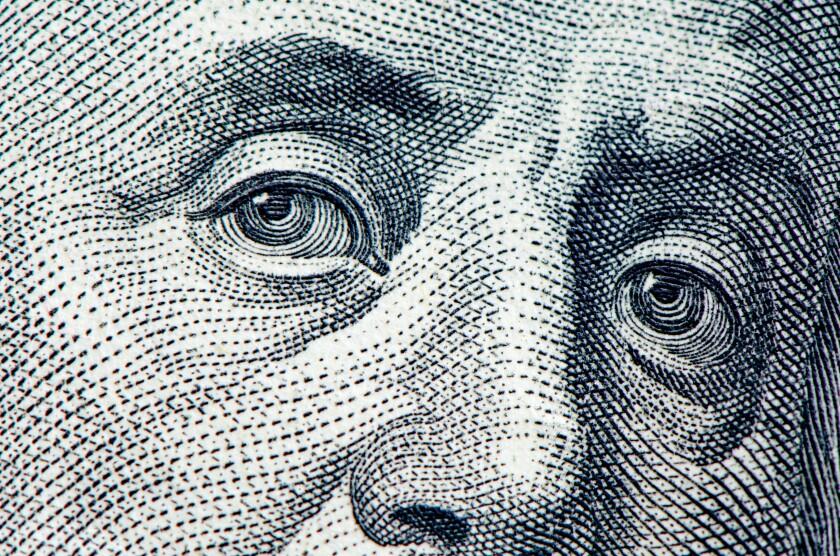 Benjamin Franklin detail $100 bill