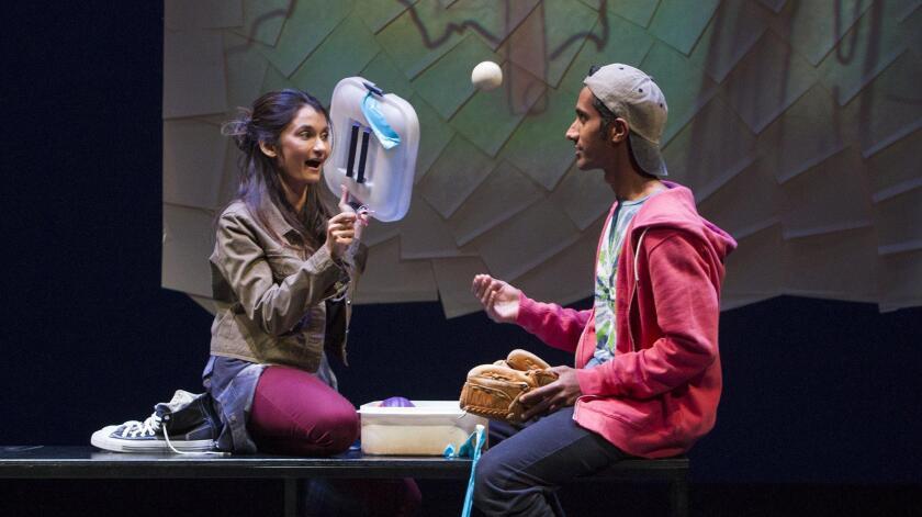 "Actors Anjali Bhimani, left, and Karthik Srinivasan rehearse the play ""Orange"" at South Coast Repertory on March 1."