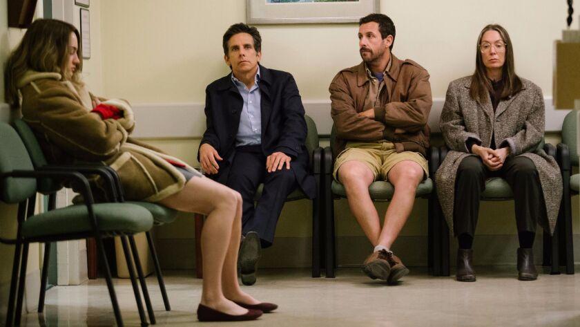 """Grace Van Patten, left, Ben Stiller, Adam Sandler and Elizabeth Marvel in the film """"The Meyerowitz Stories (New and Selected)"""""""