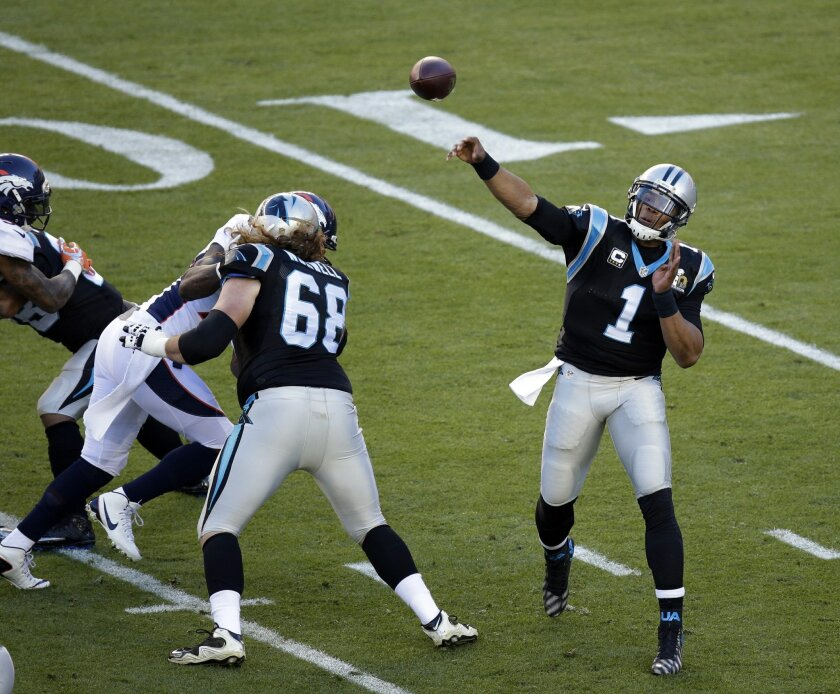 Carolina Panthers' Cam Newton (1) throws during the first half of the NFL Super Bowl 50 football game against the Denver Broncos Sunday, Feb. 7, 2016, in Santa Clara, Calif. (AP Photo/Charlie Riedel)
