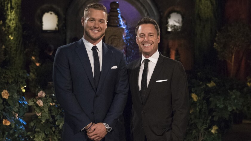 """Former NFL player Colton Underwood, left, a former contestant on """"The Bachelorette,"""" is now the prize on a new season of """"The Bachelor"""" on ABC. With host Chris Harrison."""