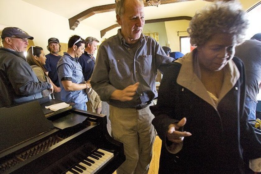 """Director Werner Herzog (left) guided Irma P. Hall from the Point Loma location of """"My Son, My Son, What Have Ye Done?"""" (Nelvin C. Cepeda / Union-Tribune)"""