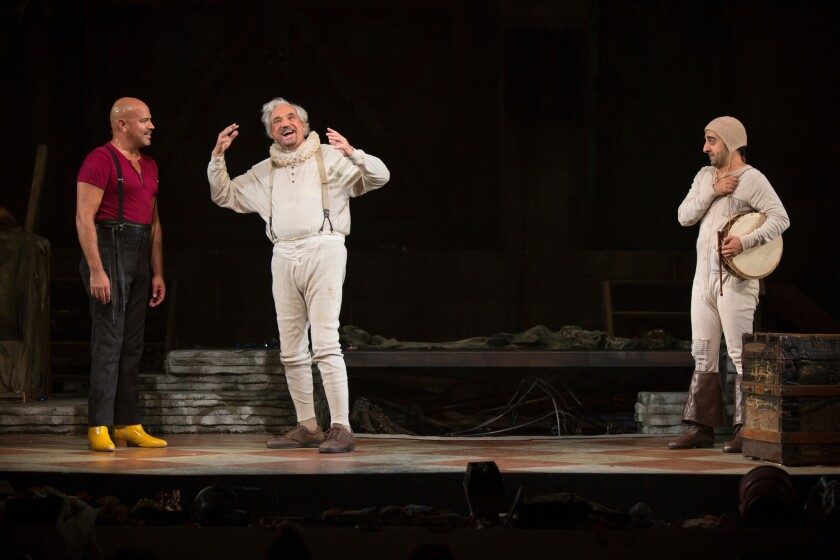"From left to right, Philip Anthony-Rodriguez, Hal Linden and Amir Talai in the Pasadena Playhouse production of ""The Fantasticks."""